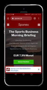 """Öffne www.sponeo.de in Google Chrome (!) auf Deinem Smartphone und klicke unten auf """"Sponeo zum Startbildschirm hinzufügen""""."""