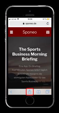 Öffne www.sponeo.de in Safari (!) auf Deinem Smartphone und klicke auf das Menü-Icon.